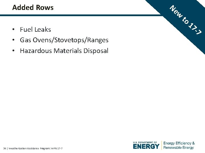 Added Rows • Fuel Leaks • Gas Ovens/Stovetops/Ranges • Hazardous Materials Disposal 34  