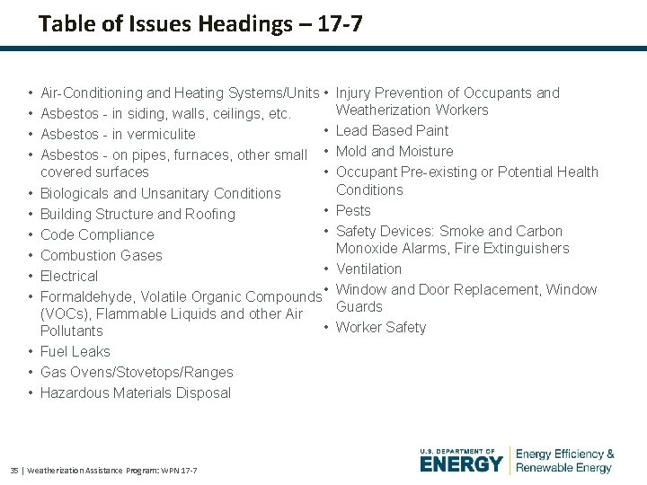 Table of Issues Headings – 17 -7 • • • • Air-Conditioning and Heating