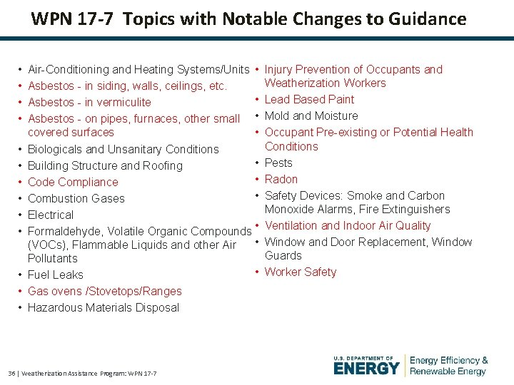 WPN 17 -7 Topics with Notable Changes to Guidance • • • • Air-Conditioning