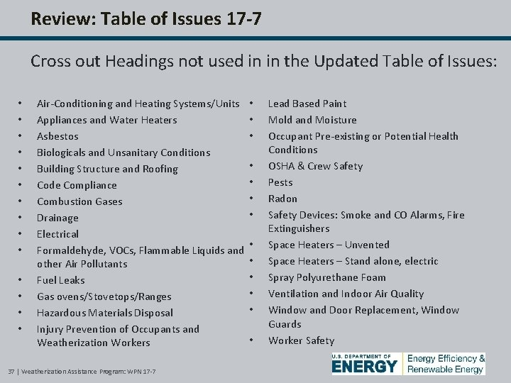 Review: Table of Issues 17 -7 Cross out Headings not used in in the