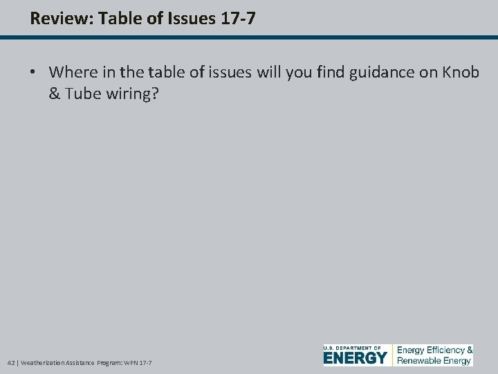 Review: Table of Issues 17 -7 • Where in the table of issues will