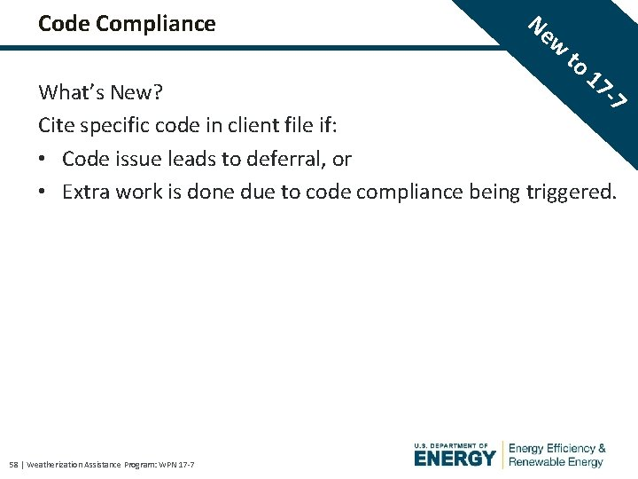 Code Compliance Ne w to 17 -7 What's New? Cite specific code in client