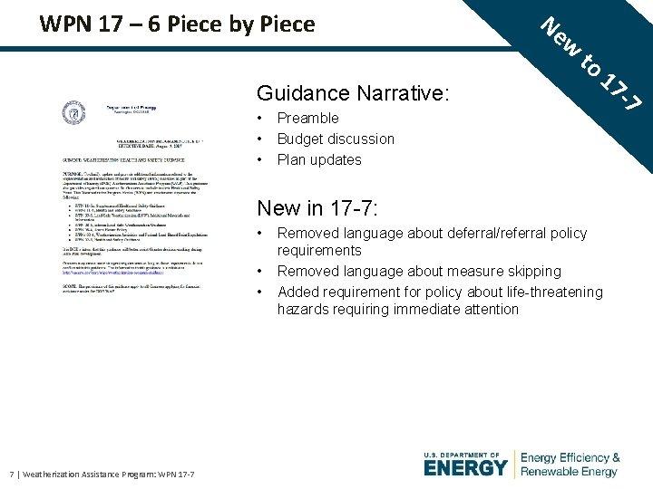 WPN 17 – 6 Piece by Piece Guidance Narrative: • • • Ne w