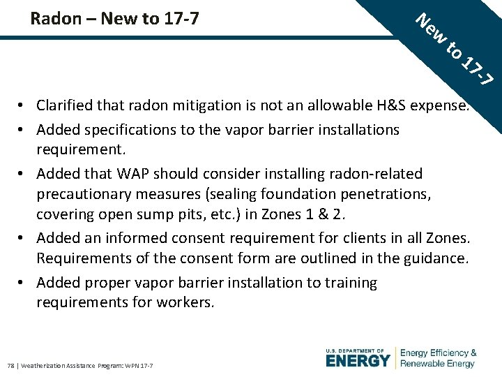 Radon – New to 17 -7 Ne w to 17 • Clarified that radon