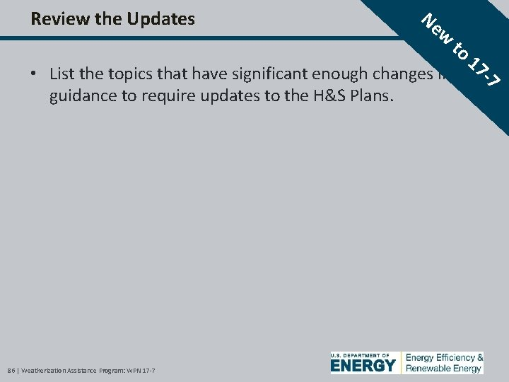 Review the Updates Ne w to • List the topics that have significant enough