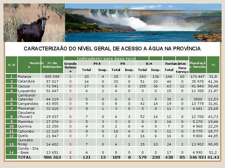 CARACTERIZAÃO DO NÍVEL GERAL DE ACESSO A ÁGUA NA PROVÍNCIA Indicadores para água rural