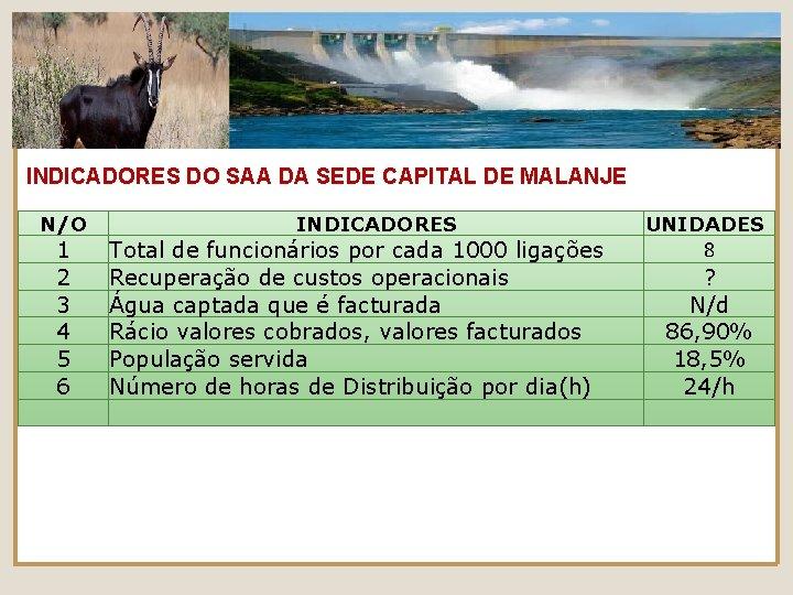 INDICADORES DO SAA DA SEDE CAPITAL DE MALANJE N/O 1 2 3 4 5