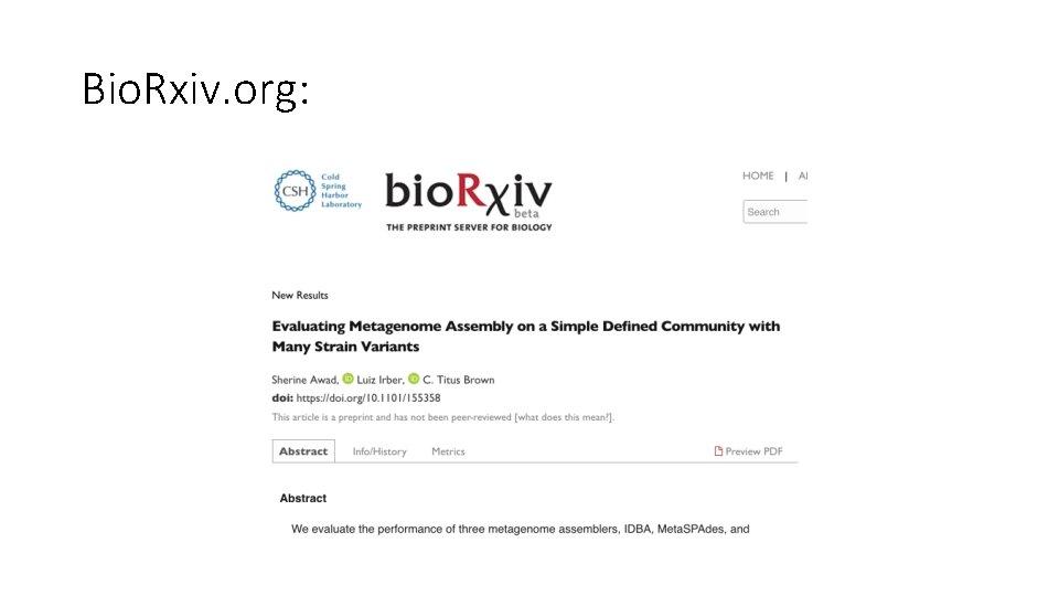 Bio. Rxiv. org: