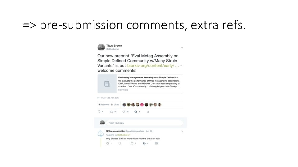 => pre-submission comments, extra refs.