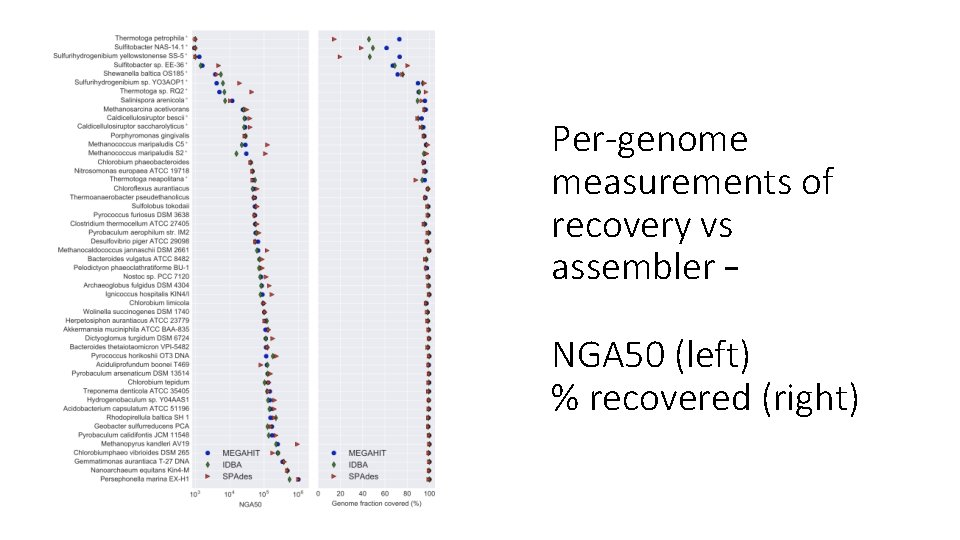 Per-genome measurements of recovery vs assembler – NGA 50 (left) % recovered (right)