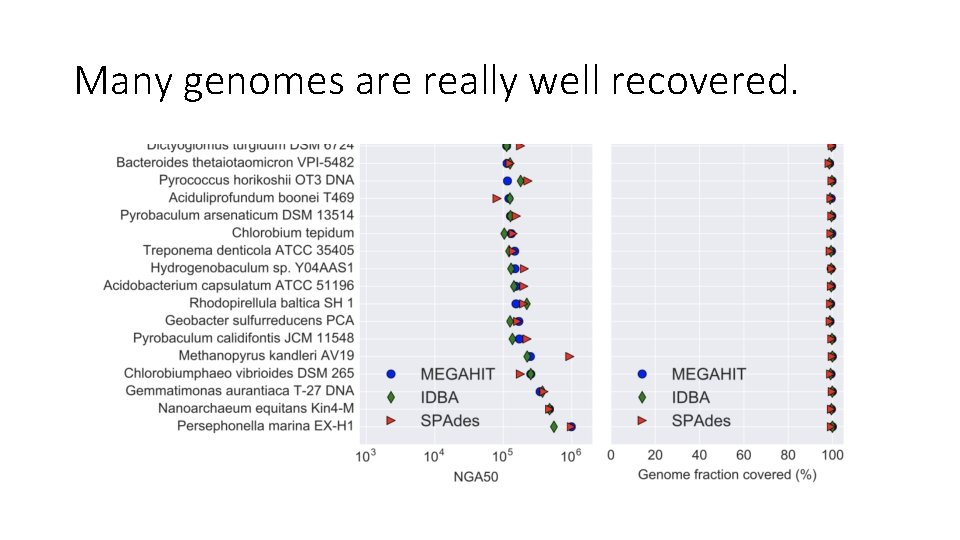 Many genomes are really well recovered.