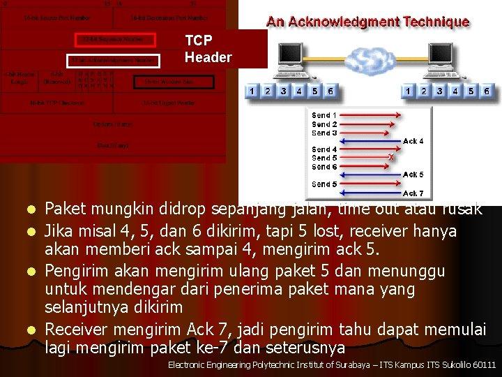 TCP Header l l Paket mungkin didrop sepanjang jalan, time out atau rusak Jika