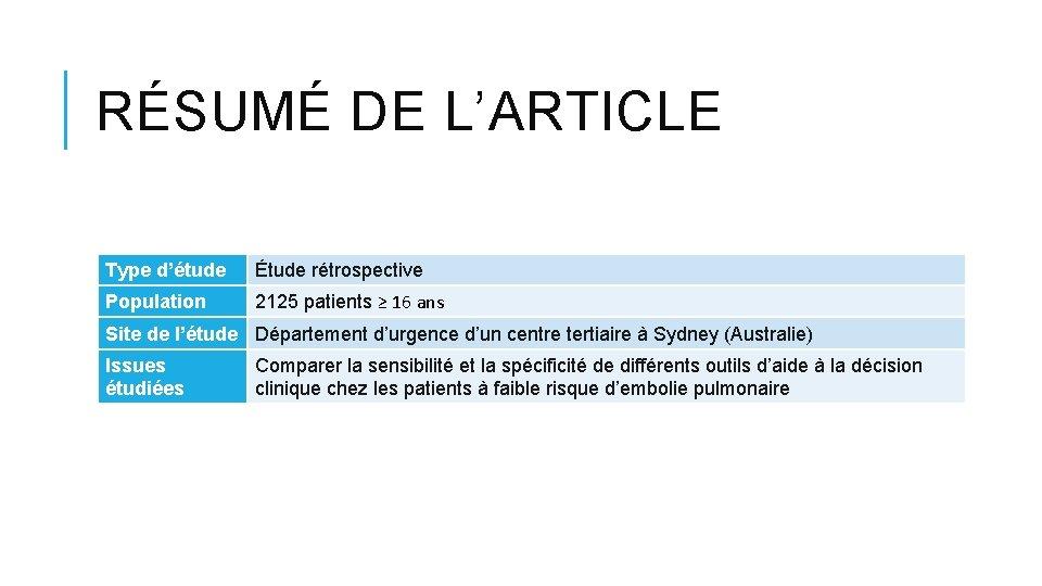 RÉSUMÉ DE L'ARTICLE Type d'étude Étude rétrospective Population 2125 patients ≥ 16 ans Site