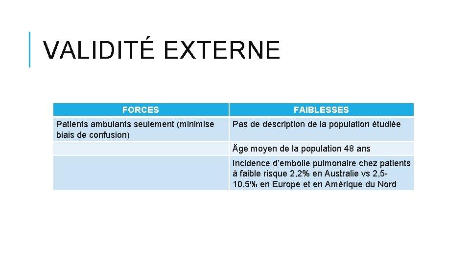 VALIDITÉ EXTERNE FORCES Patients ambulants seulement (minimise biais de confusion) FAIBLESSES Pas de description