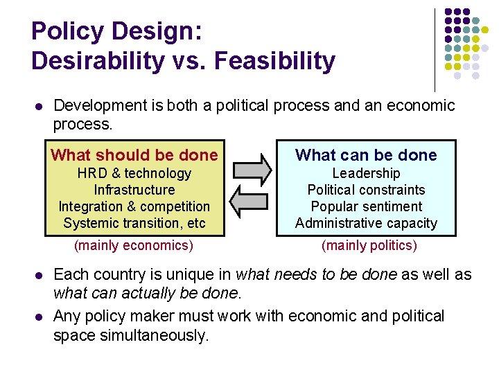 Policy Design: Desirability vs. Feasibility l l l Development is both a political process
