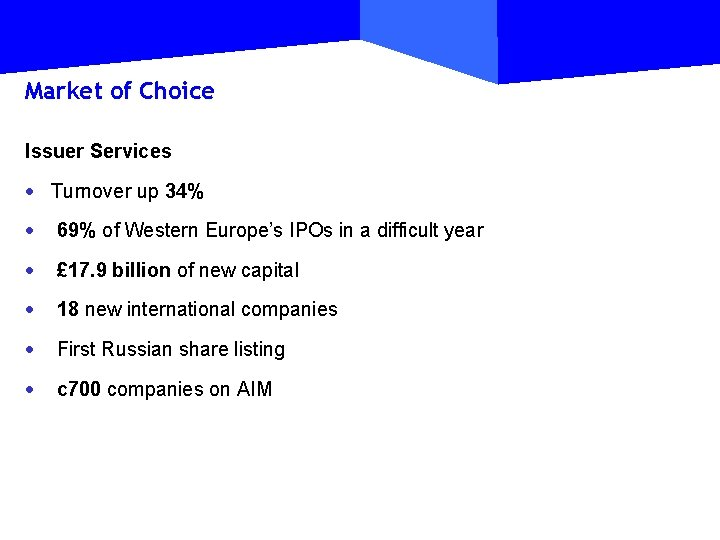 Market of Choice Issuer Services · Turnover up 34% · 69% of Western Europe's