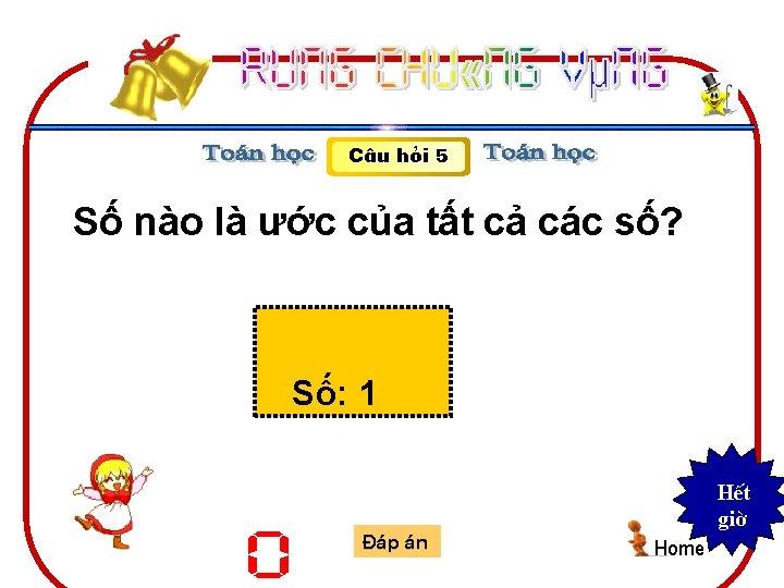 C©u hái 5 Số nào là ước của tất cả các số? Số: 1