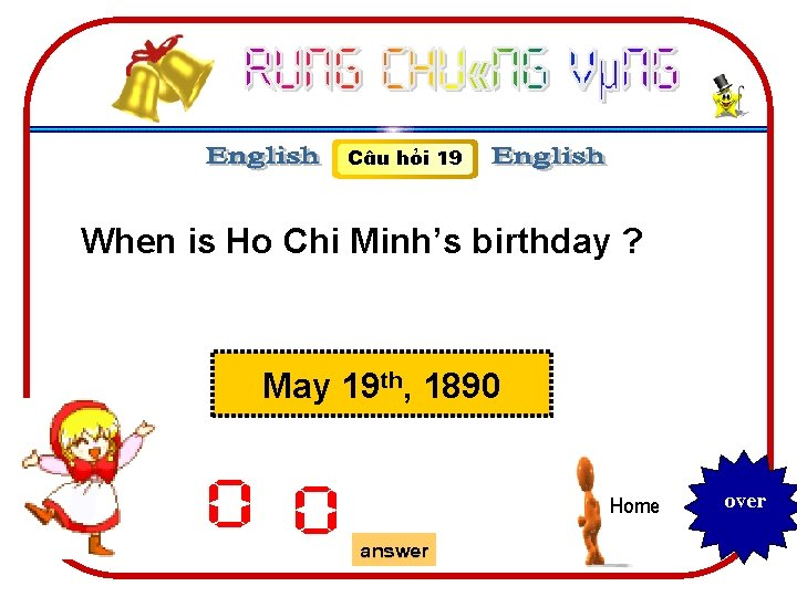 C©u hái 19 When is Ho Chi Minh's birthday ? May 19 th, 1890