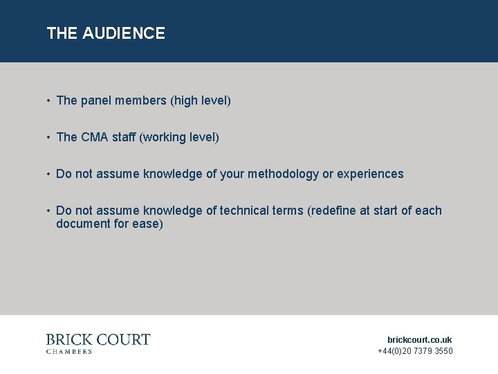 THE AUDIENCE • The panel members (high level) • The CMA staff (working level)