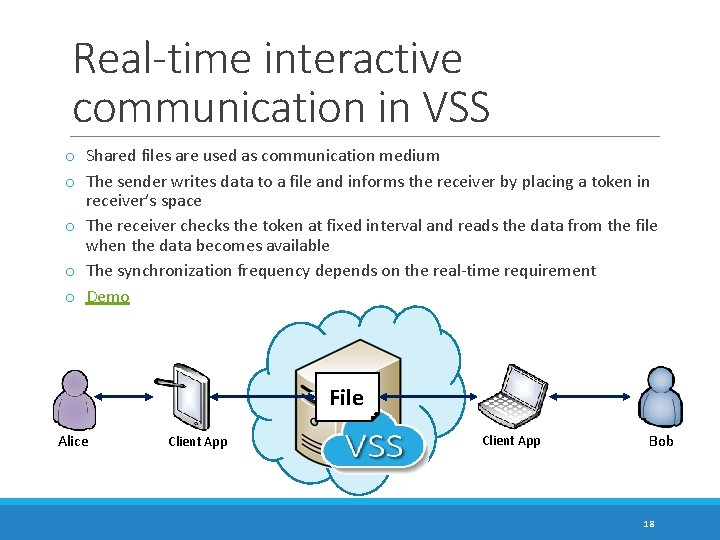 Real-time interactive communication in VSS o Shared files are used as communication medium o