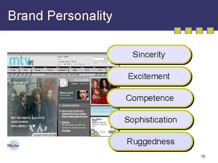 Brand Personality Sincerity Excitement Competence Sophistication Ruggedness 18
