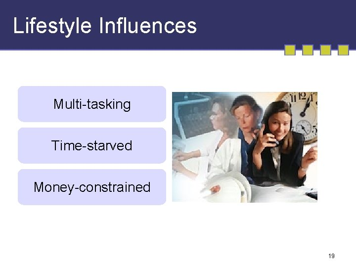 Lifestyle Influences Multi-tasking Time-starved Money-constrained 19