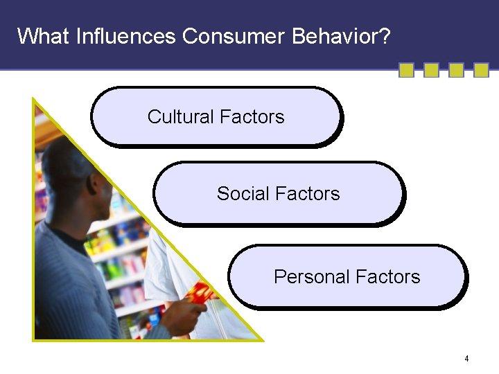 What Influences Consumer Behavior? Cultural Factors Social Factors Personal Factors 4