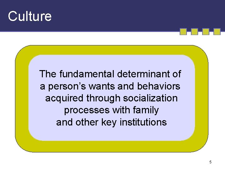 Culture The fundamental determinant of a person's wants and behaviors acquired through socialization processes