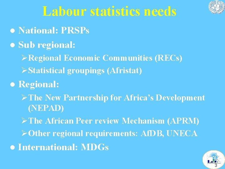 Labour statistics needs National: PRSPs l Sub regional: l ØRegional Economic Communities (RECs) ØStatistical