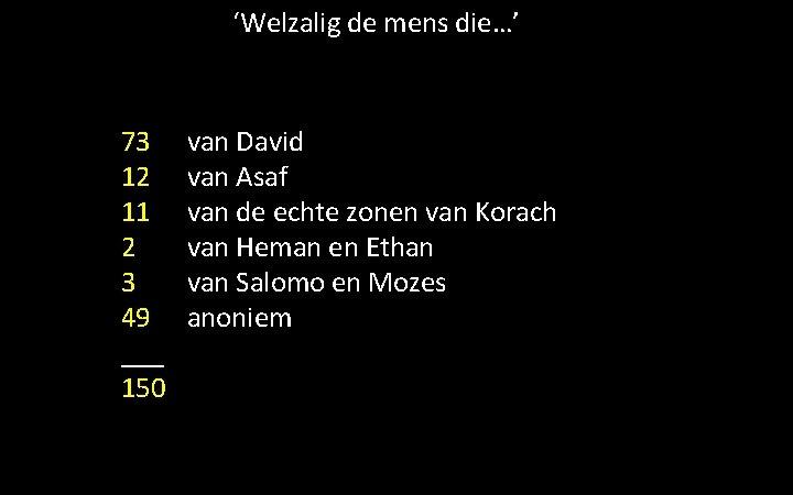 'Welzalig de mens die…' 73 12 11 2 3 49 ___ 150 van David