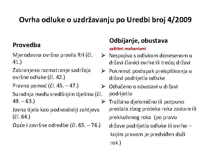 Ovrha odluke o uzdržavanju po Uredbi broj 4/2009 Provedba Mjerodavna ovršna pravila RH (čl.