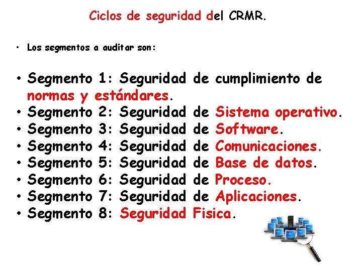 Ciclos de seguridad del CRMR. • Los segmentos a auditar son: • Segmento 1: