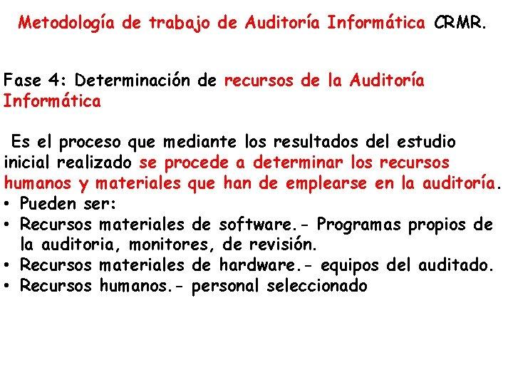 Metodología de trabajo de Auditoría Informática CRMR. Fase 4: Determinación de recursos de la