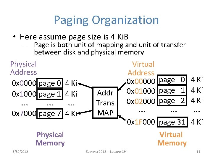Paging Organization • Here assume page size is 4 Ki. B – Page is