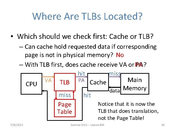 Where Are TLBs Located? • Which should we check first: Cache or TLB? –