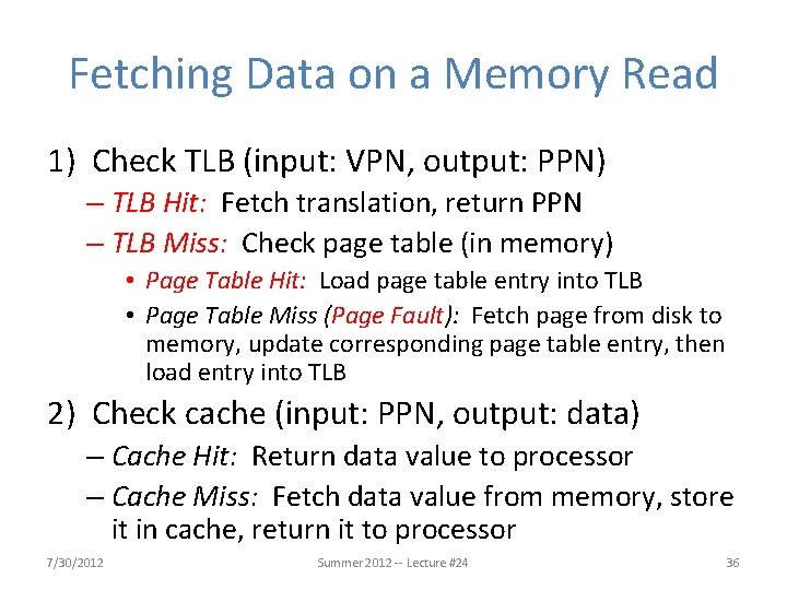 Fetching Data on a Memory Read 1) Check TLB (input: VPN, output: PPN) –
