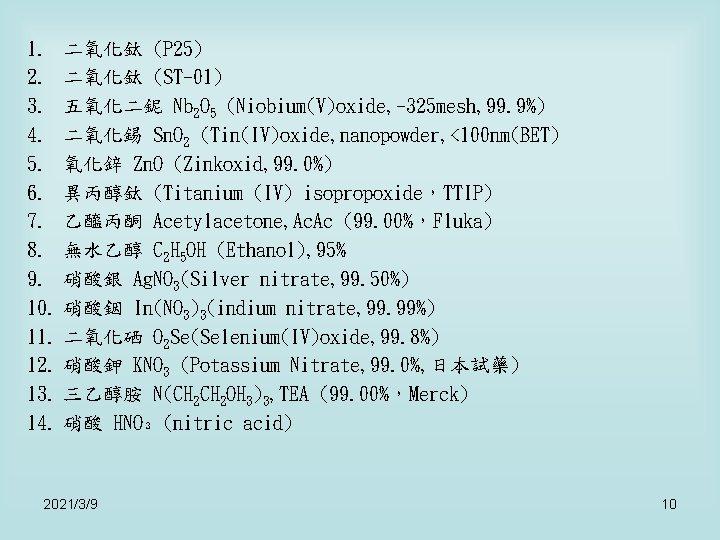 1. 二氧化鈦 (P 25) 2. 二氧化鈦 (ST-01) 3. 五氧化二鈮 Nb 2 O 5 (Niobium(V)oxide,