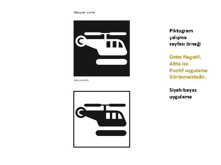 Piktogram çalışma sayfası örneği Üstte Negatif, Altta ise Pozitif uygulama Görünmektedir. Siyah-beyaz uygulama