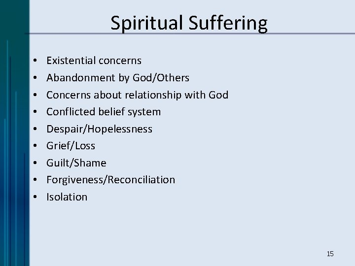 Spiritual Suffering • • • Existential concerns Abandonment by God/Others Concerns about relationship with