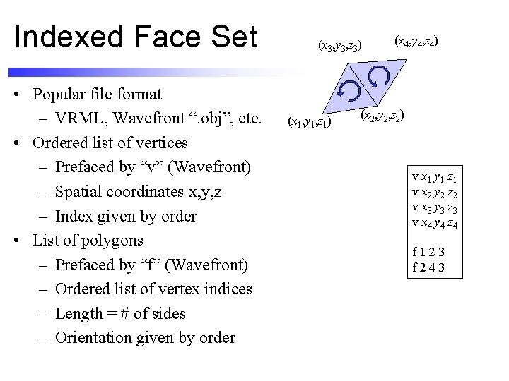 """Indexed Face Set • Popular file format – VRML, Wavefront """". obj"""", etc. •"""