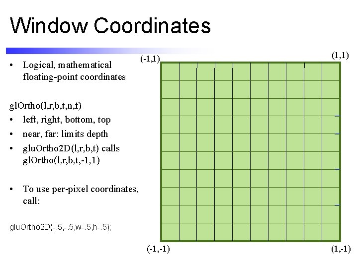 Window Coordinates • Logical, mathematical floating-point coordinates (-1, 1) (1, 1) gl. Ortho(l, r,
