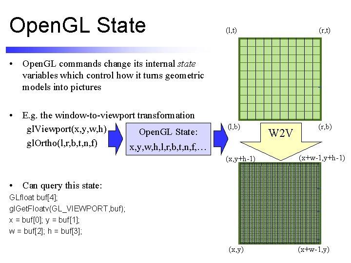 Open. GL State (l, t) (r, t) (l, b) (r, b) • Open. GL