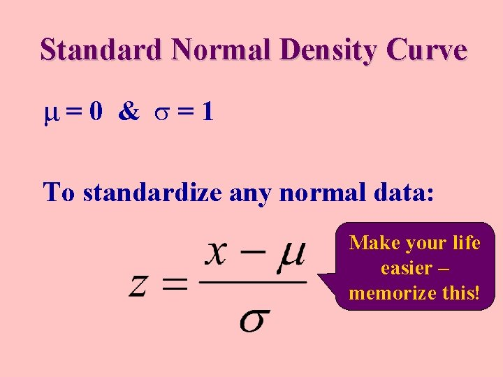 Standard Normal Density Curve μ=0 & =1 To standardize any normal data: Make your