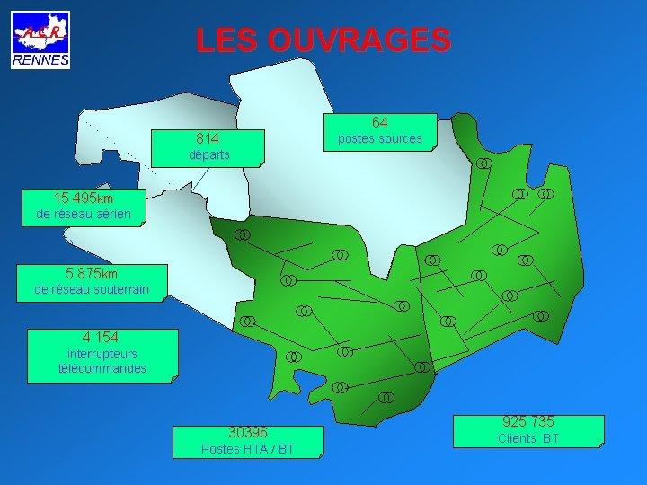 LES OUVRAGES 64 814 postes sources départs 15 495 km de réseau aérien 5