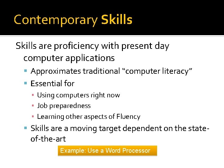 """Contemporary Skills are proficiency with present day computer applications Approximates traditional """"computer literacy"""" Essential"""