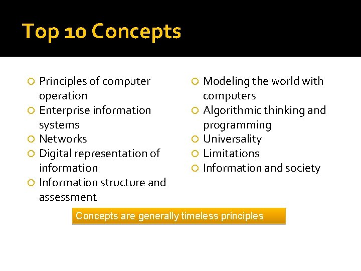 Top 10 Concepts Principles of computer operation Enterprise information systems Networks Digital representation of