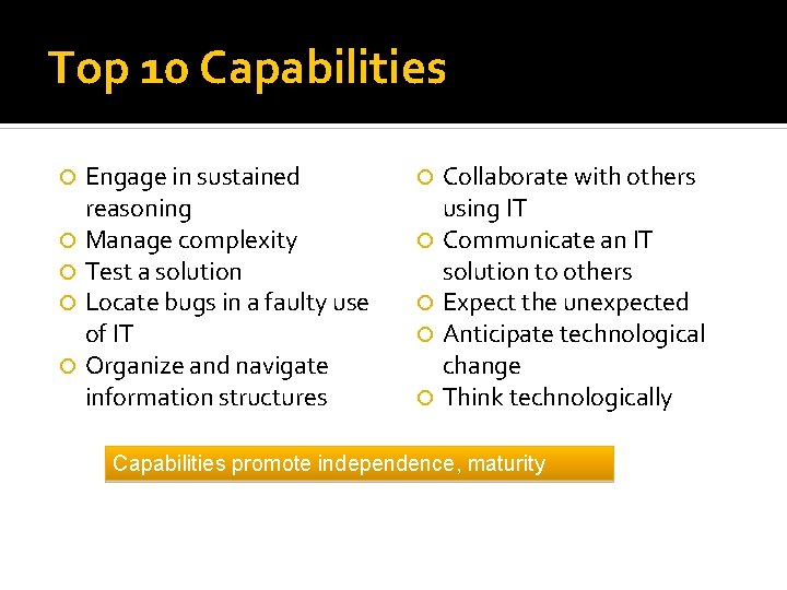 Top 10 Capabilities Engage in sustained reasoning Manage complexity Test a solution Locate bugs