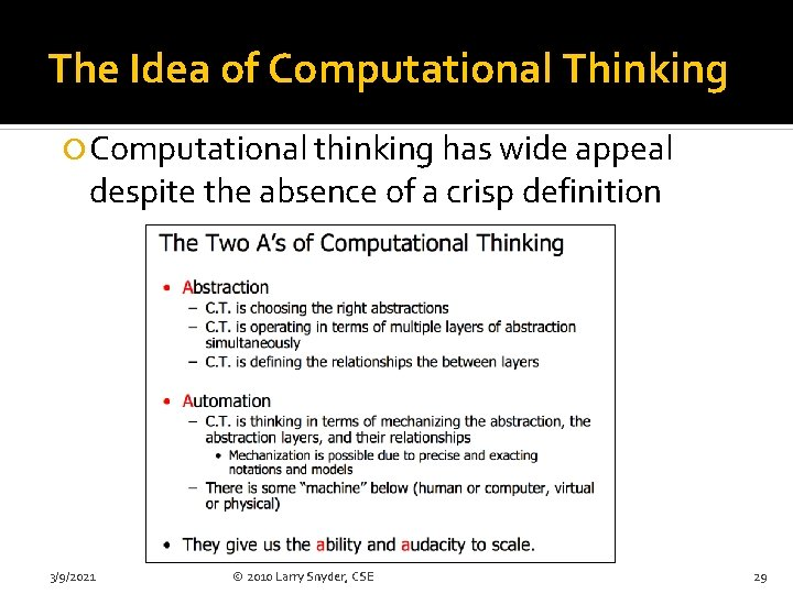 The Idea of Computational Thinking Computational thinking has wide appeal despite the absence of