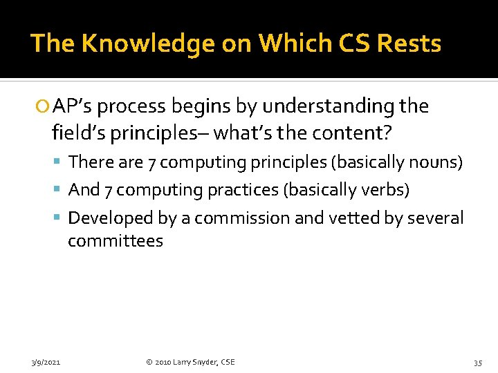 The Knowledge on Which CS Rests AP's process begins by understanding the field's principles–