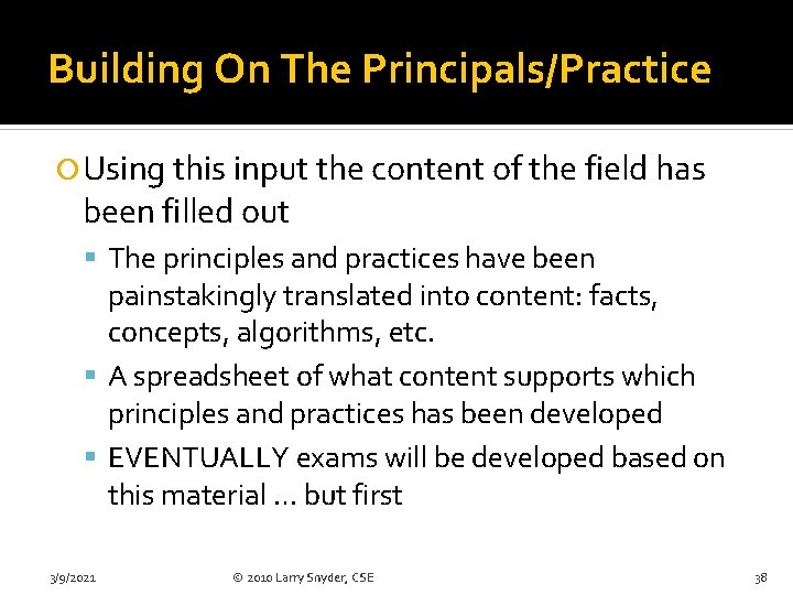 Building On The Principals/Practice Using this input the content of the field has been